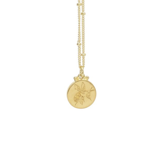 ENGRAVED BEE POLLEN NECKLACE GOLD